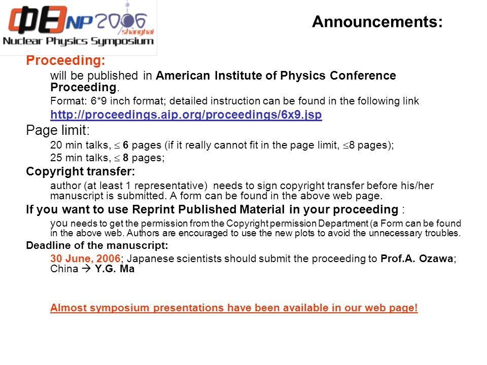 Announcements: Proceeding: will be published in American Institute of Physics Conference Proceeding.