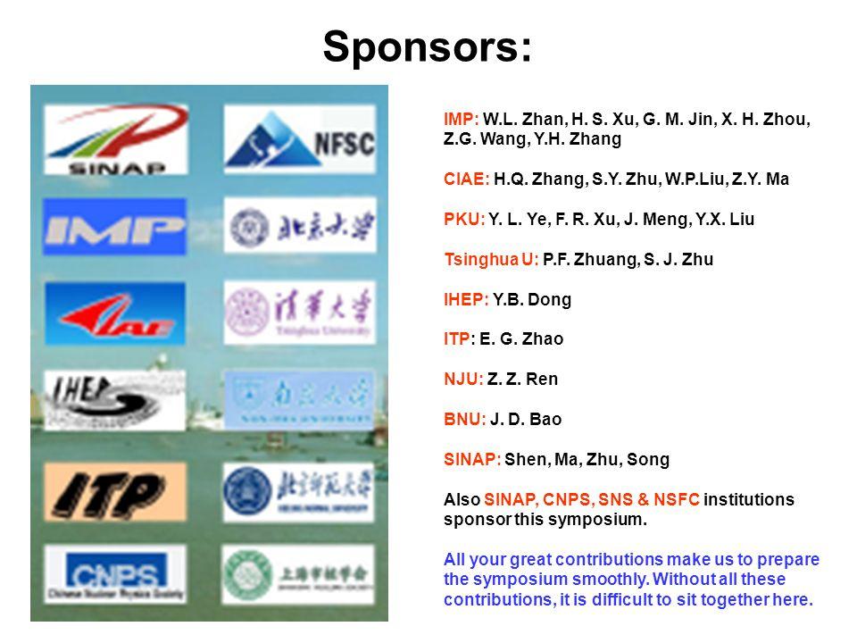 Sponsors: IMP: W.L. Zhan, H. S. Xu, G. M. Jin, X.
