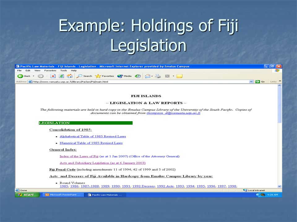 Example: Holdings of Fiji Legislation