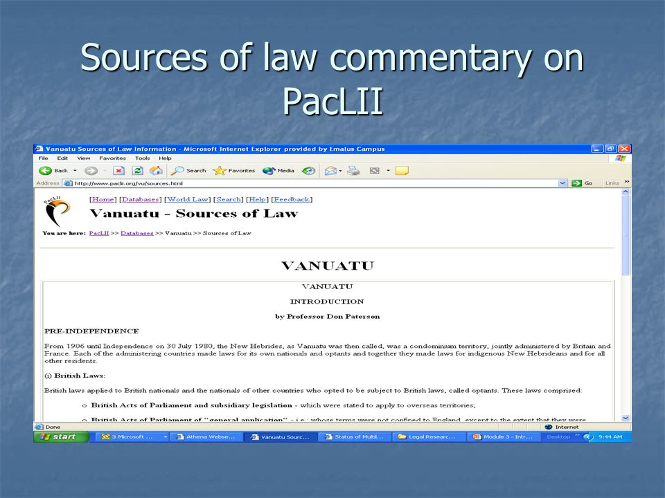 Sources of law commentary on PacLII