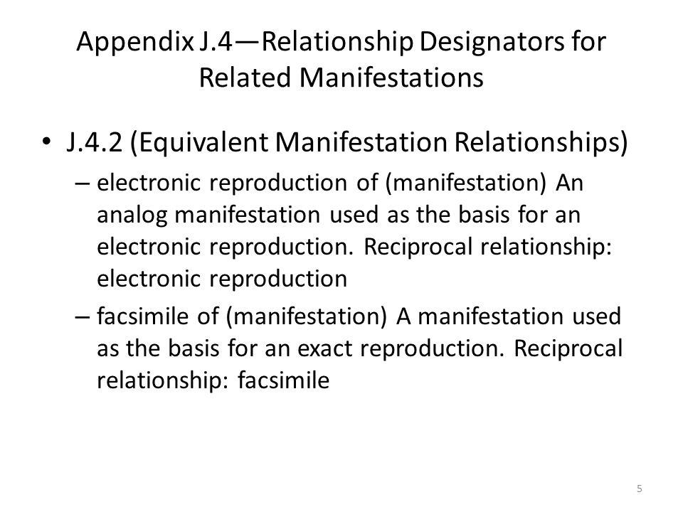 Appendix J.4—Relationship Designators for Related Manifestations J.4.2 (Equivalent Manifestation Relationships) – electronic reproduction of (manifestation) An analog manifestation used as the basis for an electronic reproduction.