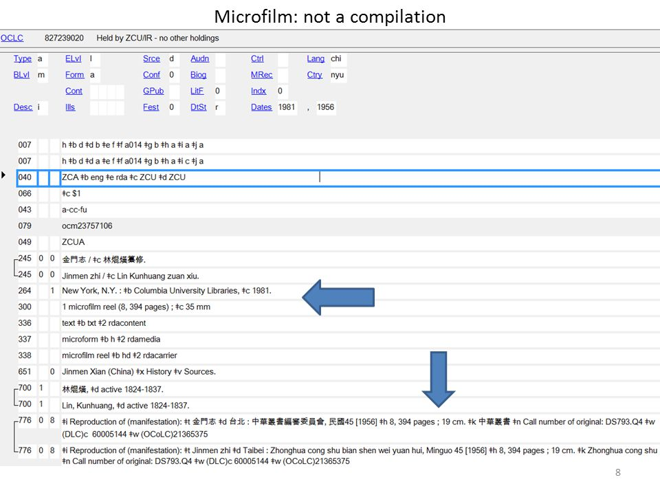 Microfilm: not a compilation 8