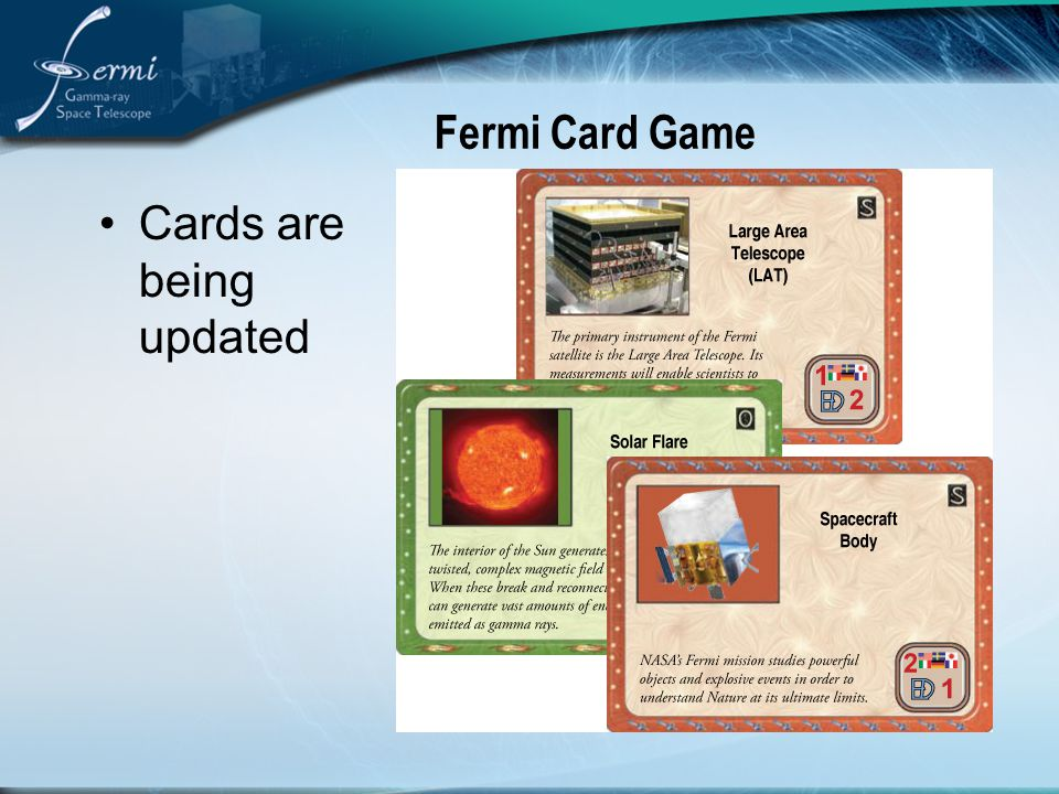 Fermi Card Game Cards are being updated