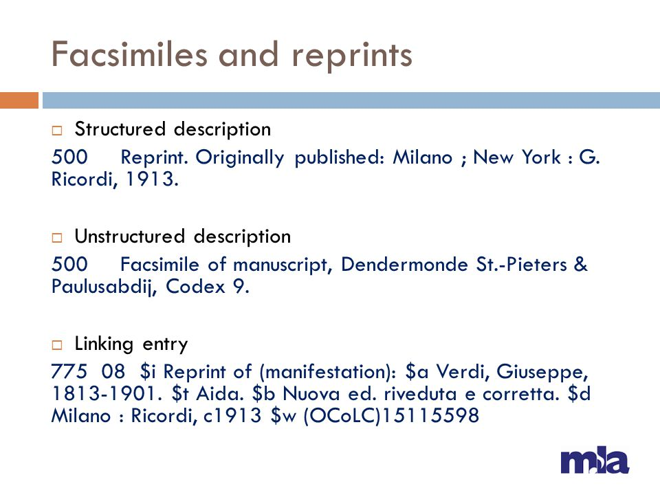 Facsimiles and reprints  Structured description 500 Reprint.