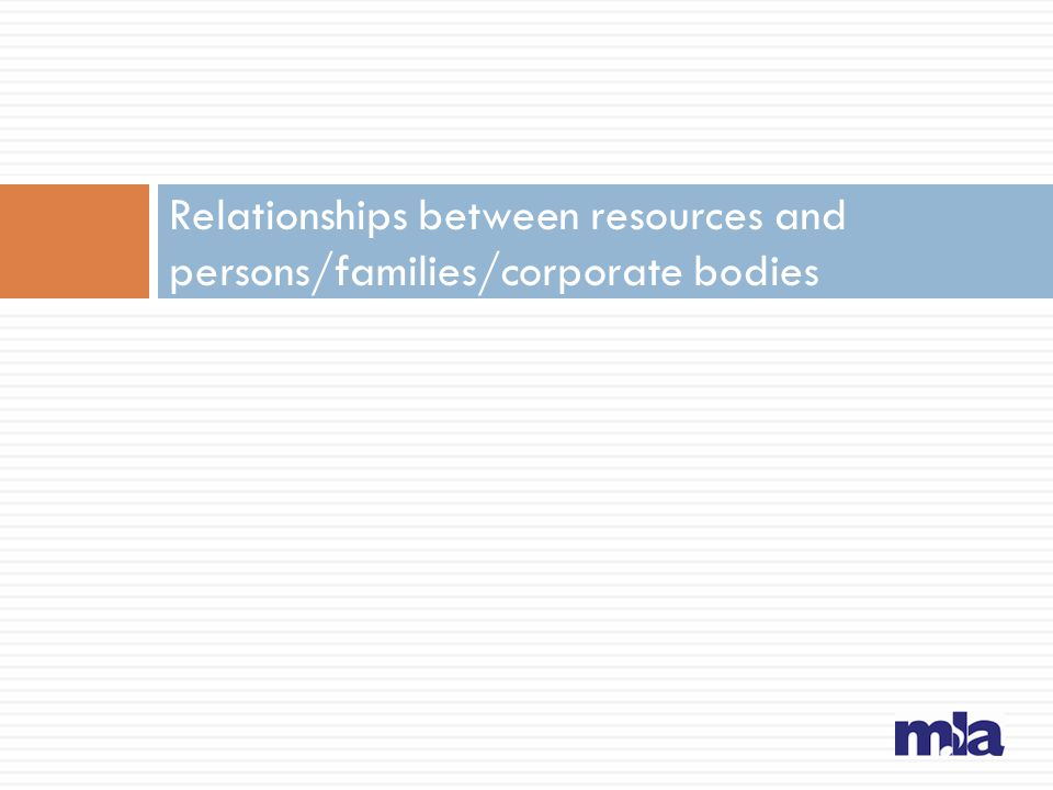Instructions in RDA Persons/families/corporate bodies associated with a…  Work (Chapter 19): creators, others  Expression (Chapter 20): contributors  Manifestation (Chapter 21)  Item (Chapter 22)