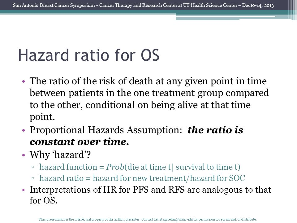 Hazard ratio for OS The ratio of the risk of death at any given point in time between patients in the one treatment group compared to the other, conditional on being alive at that time point.