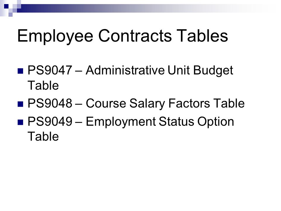 Employee Contracts Tables PS9047 – Administrative Unit Budget Table PS9048 – Course Salary Factors Table PS9049 – Employment Status Option Table