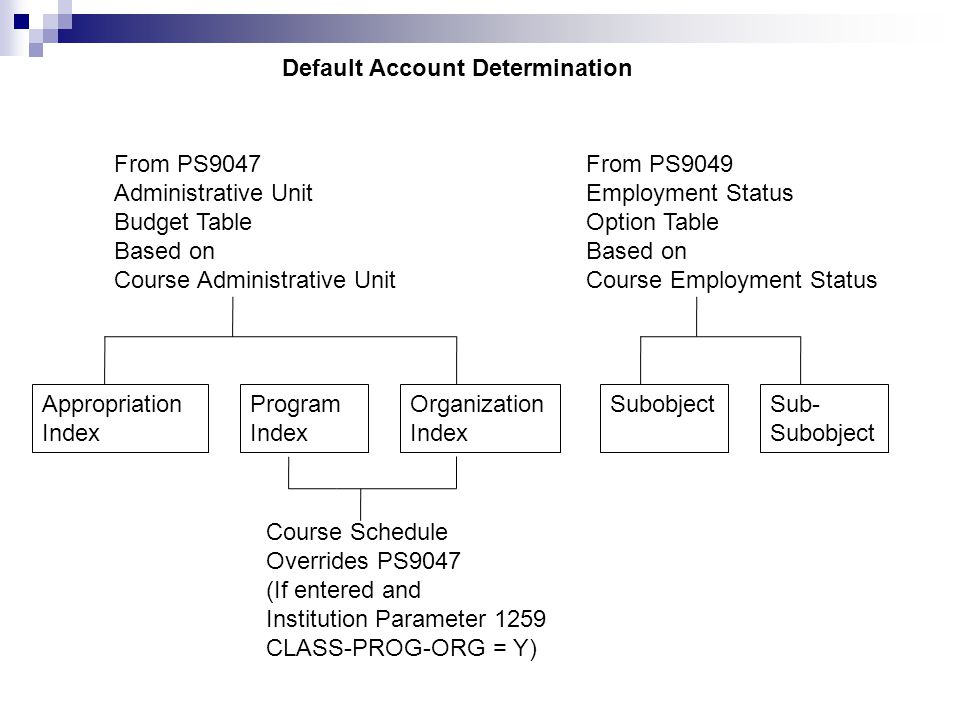 Default Account Determination Appropriation Index Program Index Organization Index SubobjectSub- Subobject From PS9047 Administrative Unit Budget Table Based on Course Administrative Unit From PS9049 Employment Status Option Table Based on Course Employment Status Course Schedule Overrides PS9047 (If entered and Institution Parameter 1259 CLASS-PROG-ORG = Y)