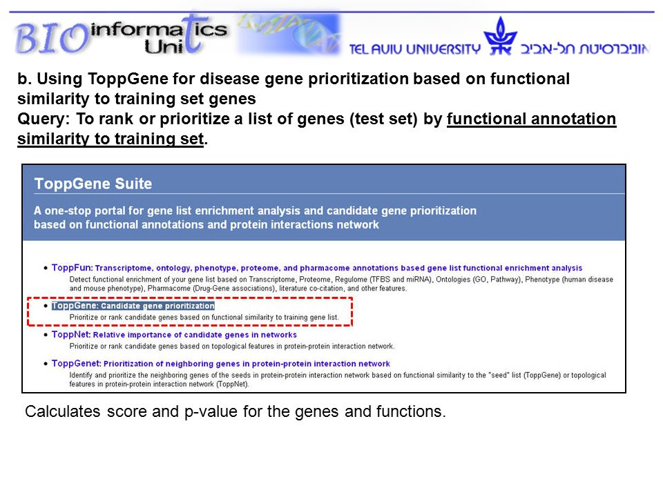 b. Using ToppGene for disease gene prioritization based on functional similarity to training set genes Query: To rank or prioritize a list of genes (t