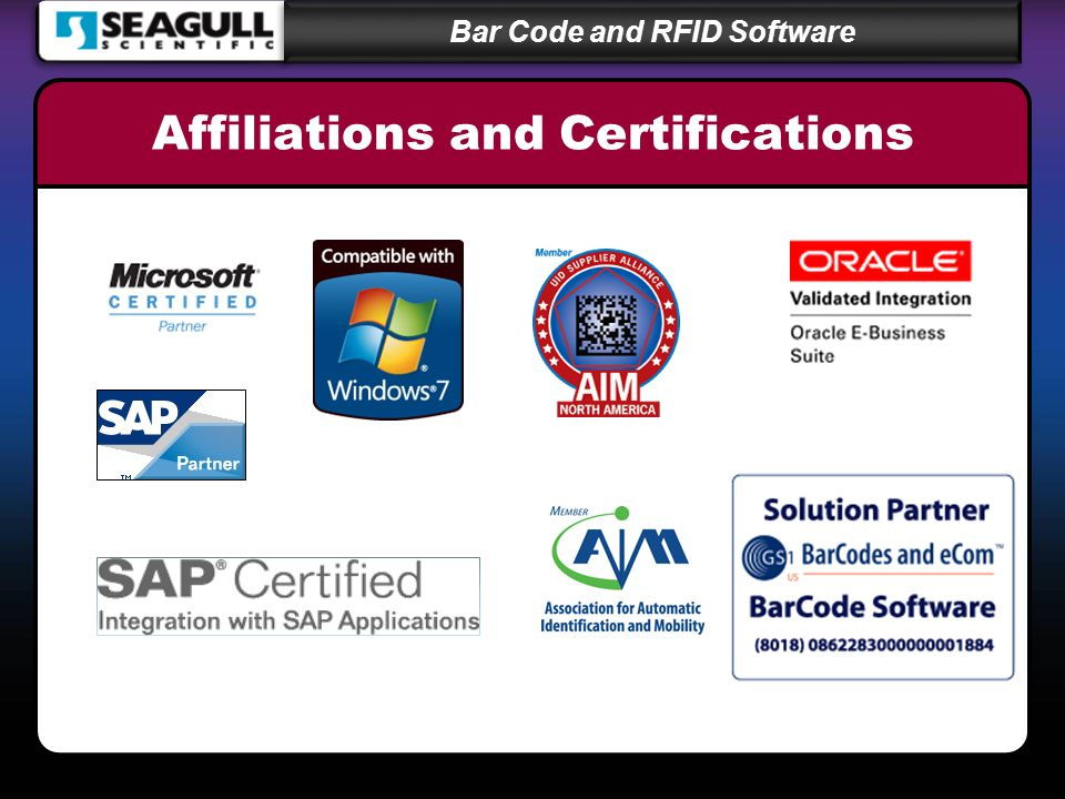 Bar Code and RFID Software Affiliations and Certifications