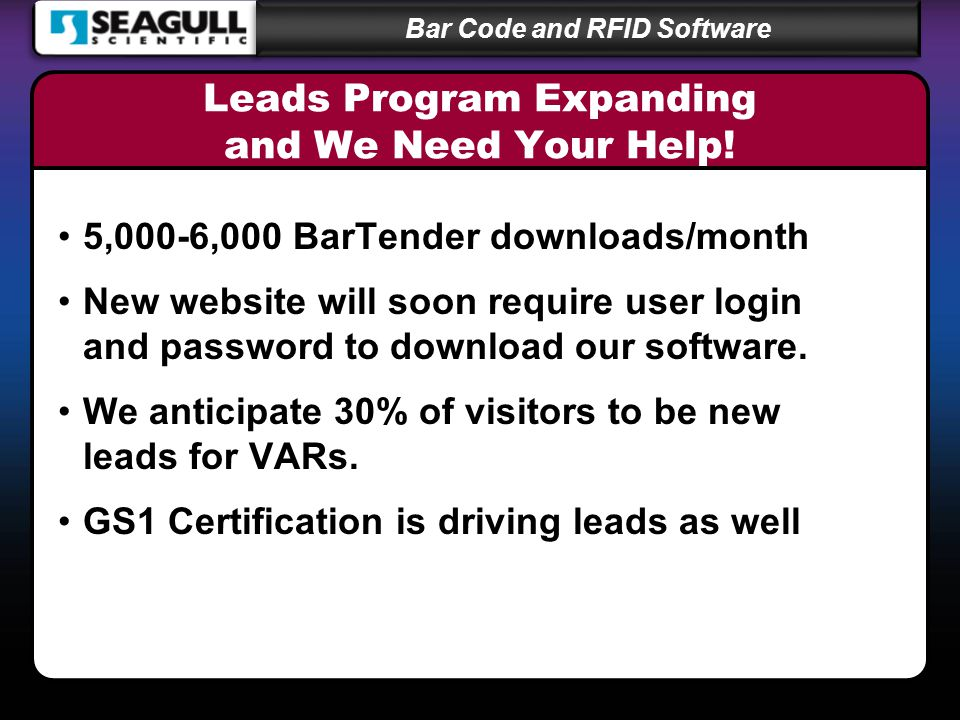 Bar Code and RFID Software Leads Program Expanding and We Need Your Help.