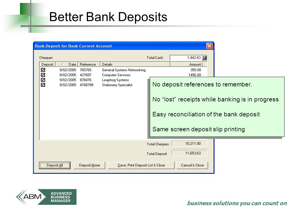 business solutions you can count on Better Bank Deposits No deposit references to remember.