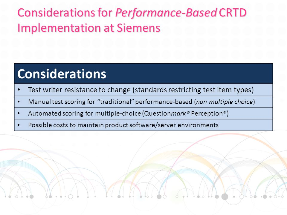 Considerations for Performance-Based CRTD Implementation at Siemens Considerations Test writer resistance to change (standards restricting test item types) Manual test scoring for traditional performance-based (non multiple choice) Automated scoring for multiple-choice (Questionmark® Perception®) Possible costs to maintain product software/server environments