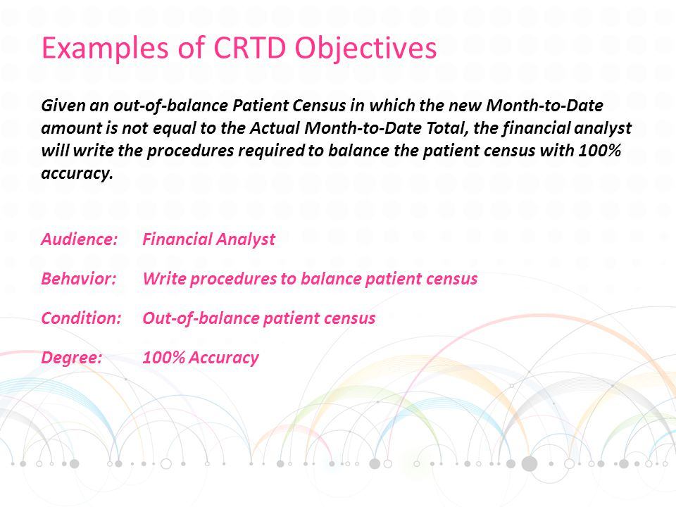 Examples of CRTD Objectives Given an out-of-balance Patient Census in which the new Month-to-Date amount is not equal to the Actual Month-to-Date Total, the financial analyst will write the procedures required to balance the patient census with 100% accuracy.