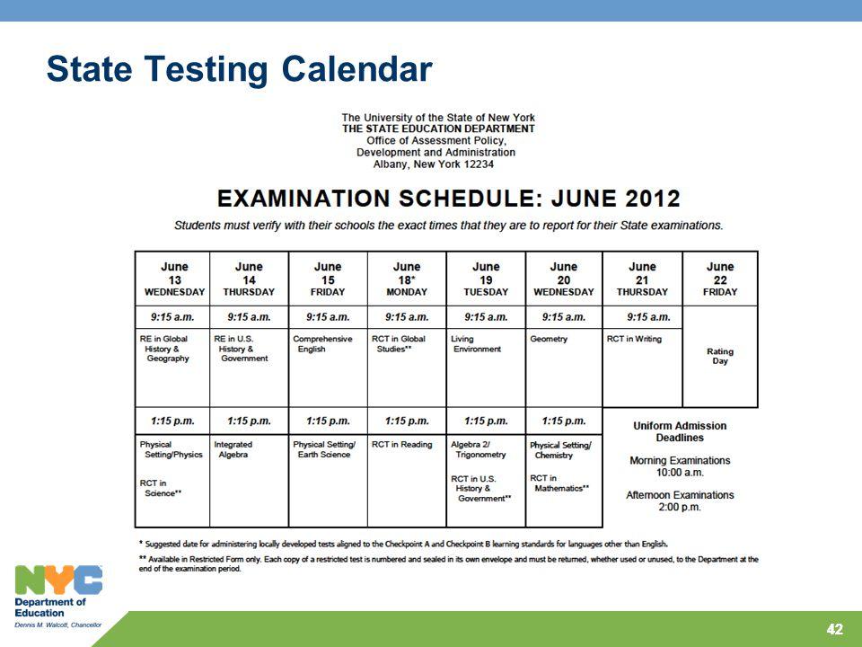 42 State Testing Calendar