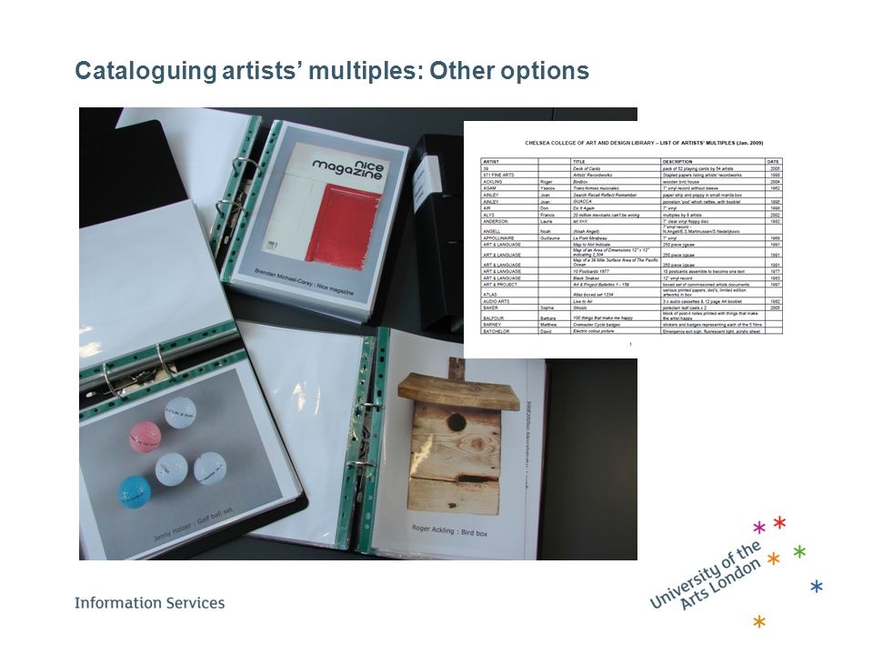 Cataloguing artists' multiples: Other options