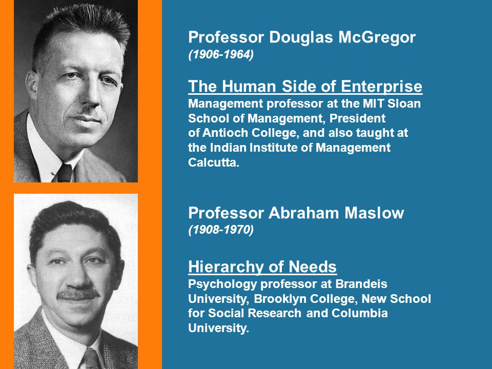 Professor Douglas McGregor (1906-1964) The Human Side of Enterprise Management professor at the MIT Sloan School of Management, President of Antioch College, and also taught at the Indian Institute of Management Calcutta.