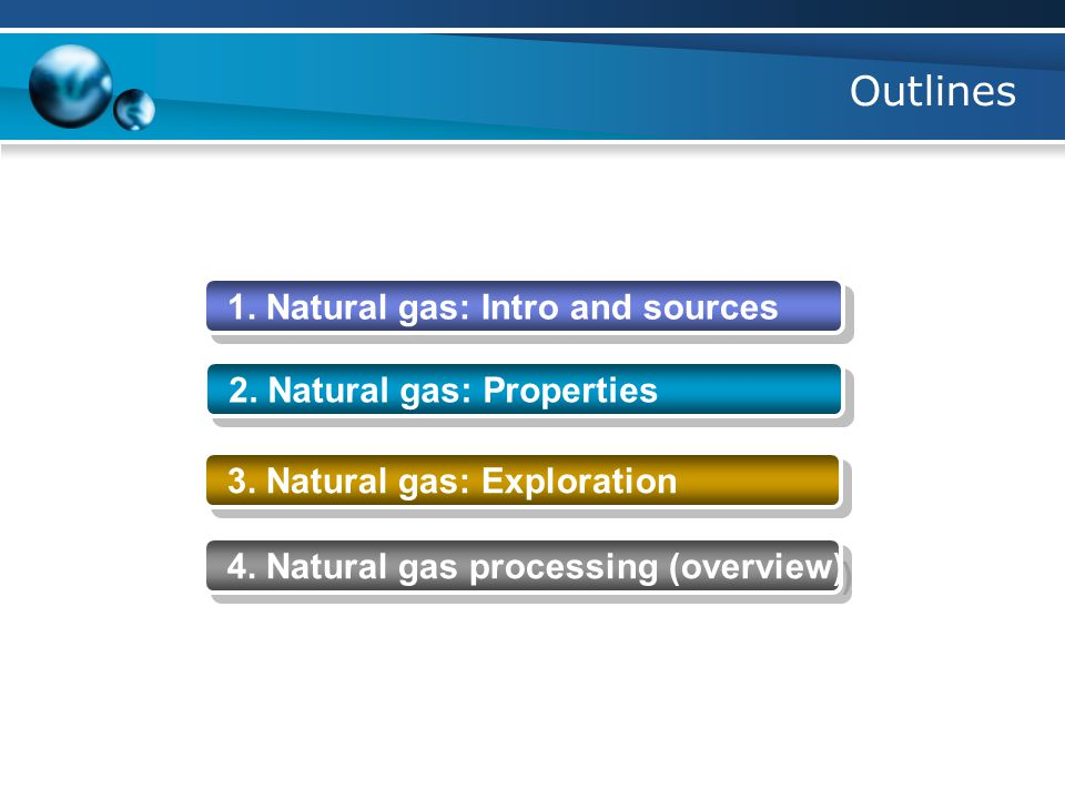 Outlines 1. Natural gas: Intro and sources 2. Natural gas: Properties 3.