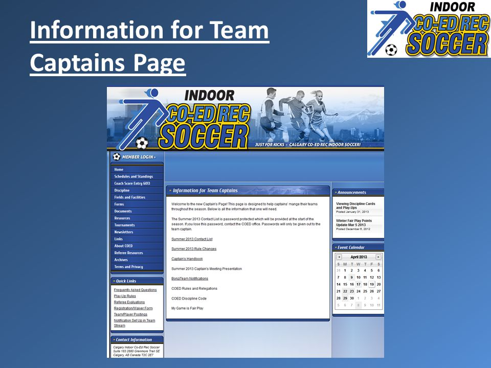 Information for Team Captains Page