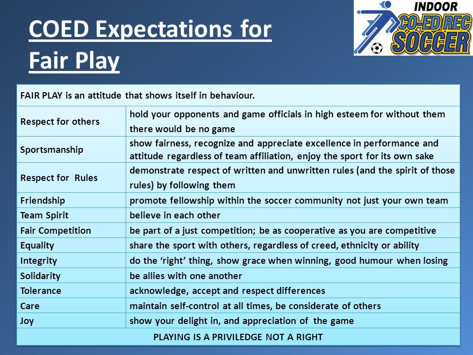 COED Expectations for Fair Play
