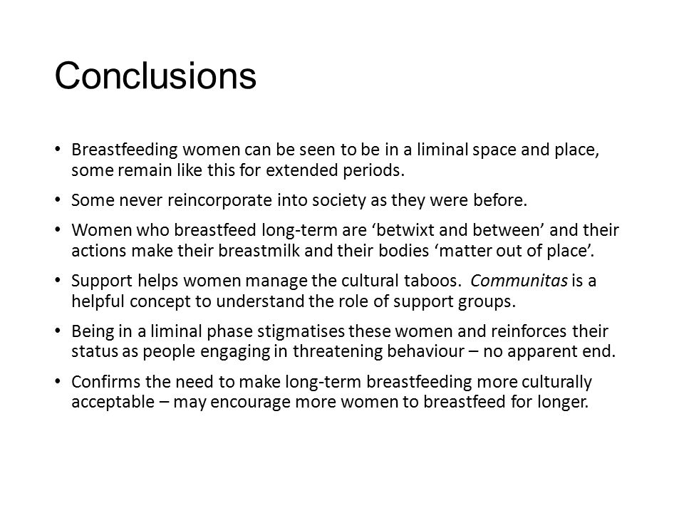 Conclusions Breastfeeding women can be seen to be in a liminal space and place, some remain like this for extended periods.