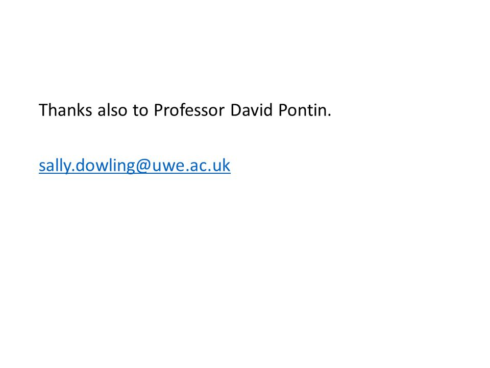 Thanks also to Professor David Pontin. sally.dowling@uwe.ac.uk
