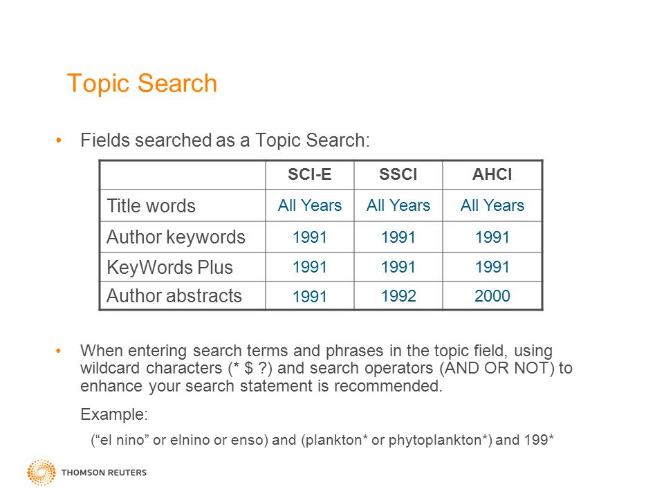 Topic Search Fields searched as a Topic Search: When entering search terms and phrases in the topic field, using wildcard characters (* $ ?) and searc