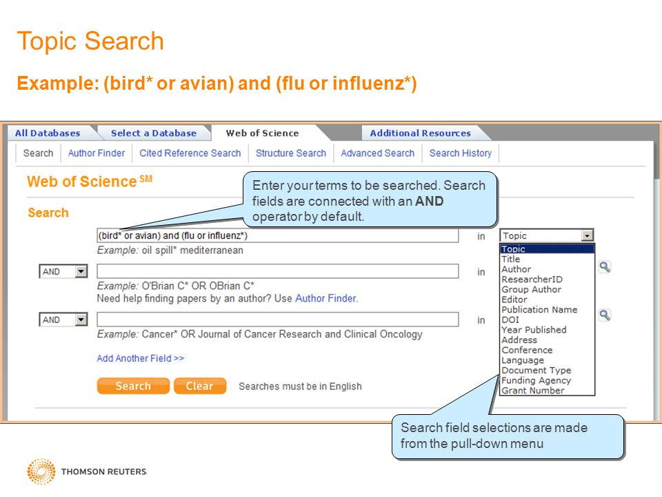 Example: (bird* or avian) and (flu or influenz*) Enter your terms to be searched. Search fields are connected with an AND operator by default. Search