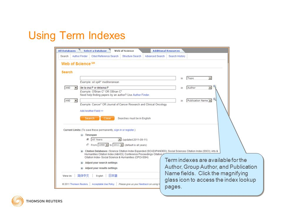 Using Term Indexes Term indexes are available for the Author, Group Author, and Publication Name fields.