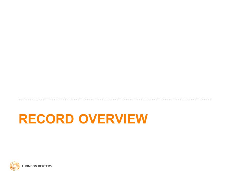 RECORD OVERVIEW ……………………………………………………………………………...