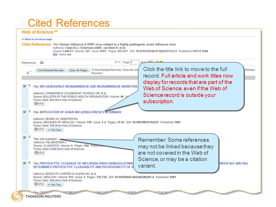 Cited References Remember: Some references may not be linked because they are not covered in the Web of Science, or may be a citation variant. Click t
