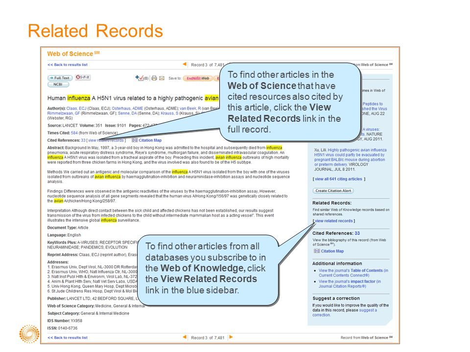 Related Records To find other articles in the Web of Science that have cited resources also cited by this article, click the View Related Records link