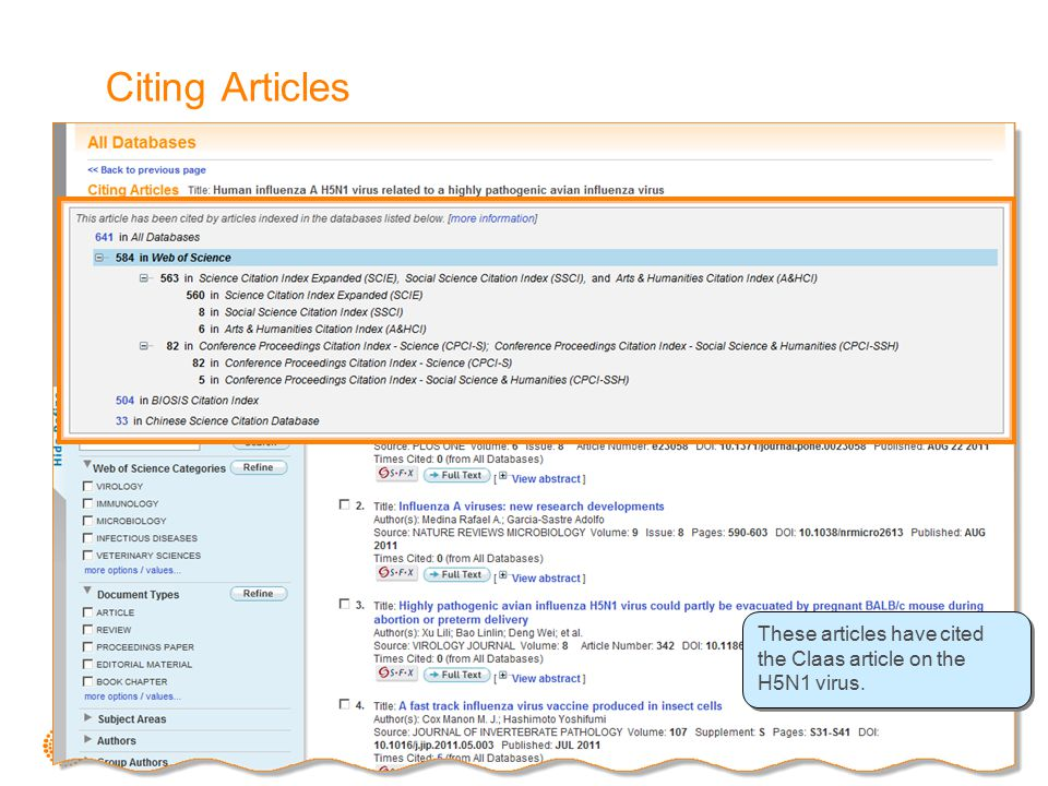 Citing Articles These articles have cited the Claas article on the H5N1 virus.