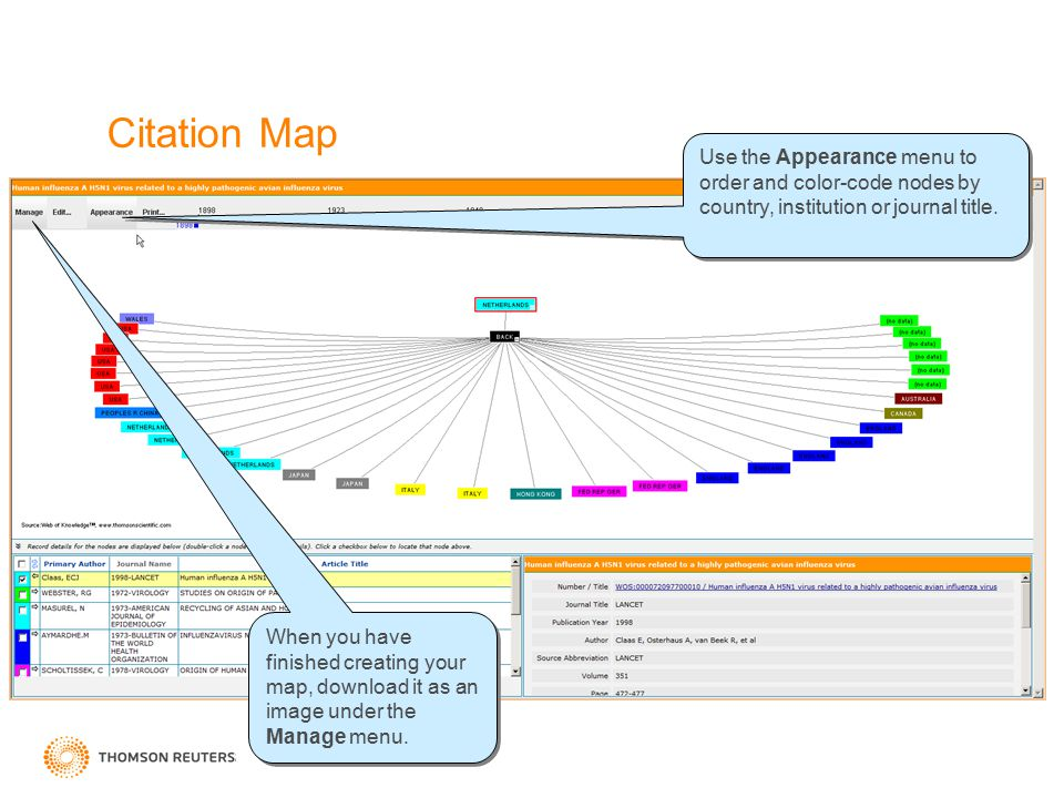 Citation Map Use the Appearance menu to order and color-code nodes by country, institution or journal title. When you have finished creating your map,