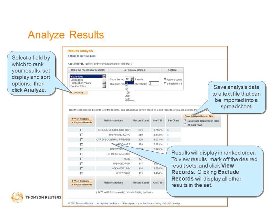 Analyze Results Select a field by which to rank your results, set display and sort options, then click Analyze. Results will display in ranked order.