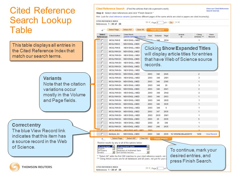 Cited Reference Search Lookup Table Correct entry The blue View Record link indicates that this item has a source record in the Web of Science.
