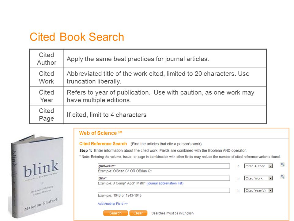 Cited Book Search Cited Author Apply the same best practices for journal articles.