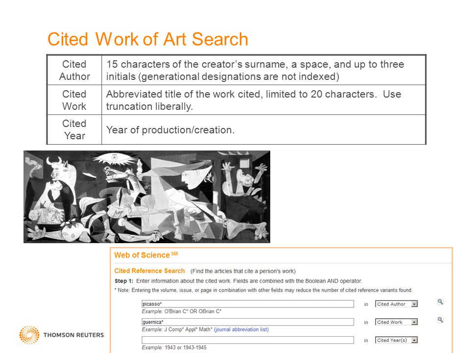 Cited Work of Art Search Cited Author 15 characters of the creator's surname, a space, and up to three initials (generational designations are not indexed) Cited Work Abbreviated title of the work cited, limited to 20 characters.