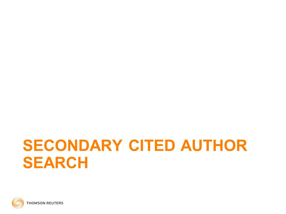 SECONDARY CITED AUTHOR SEARCH