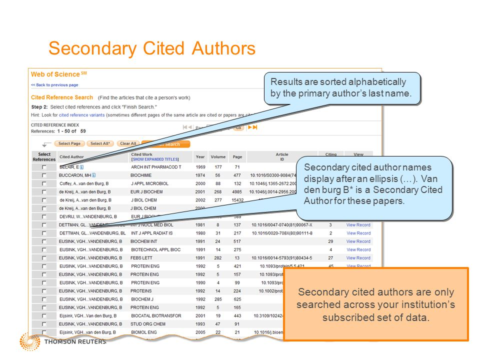 Secondary Cited Authors Secondary cited author names display after an ellipsis (…).