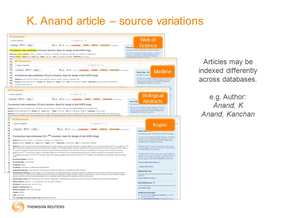 K. Anand article – source variations Web of Science Medline Biological Abstracts Inspec Articles may be indexed differently across databases. e.g. Aut