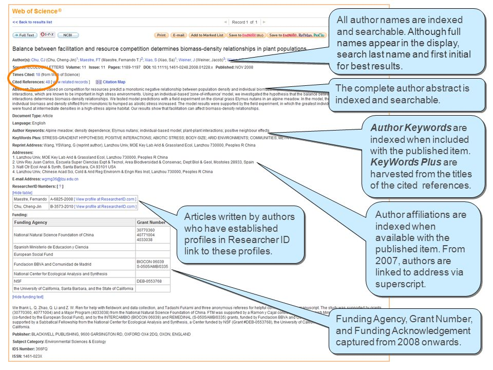 All author names are indexed and searchable. Although full names appear in the display, search last name and first initial for best results. The compl