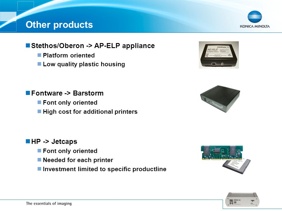 Other products Stethos/Oberon -> AP-ELP appliance Platform oriented Low quality plastic housing Fontware -> Barstorm Font only oriented High cost for