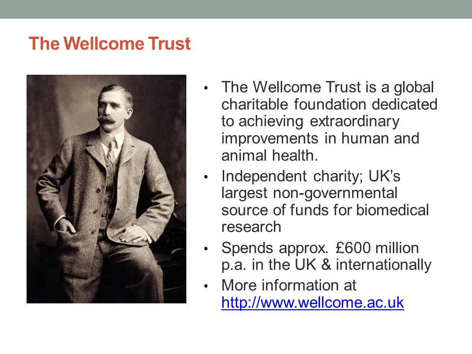 OA at the Wellcome Trust: policy All research papers – funded in whole or in part by the Wellcome Trust – must be made freely accessible from the PubMed Central and UKPMC repositories as soon as possible, and in any event within six months of the journal publisher's official date of final publication