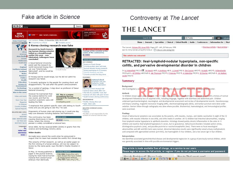 Fake article in Science Controversy at The Lancet
