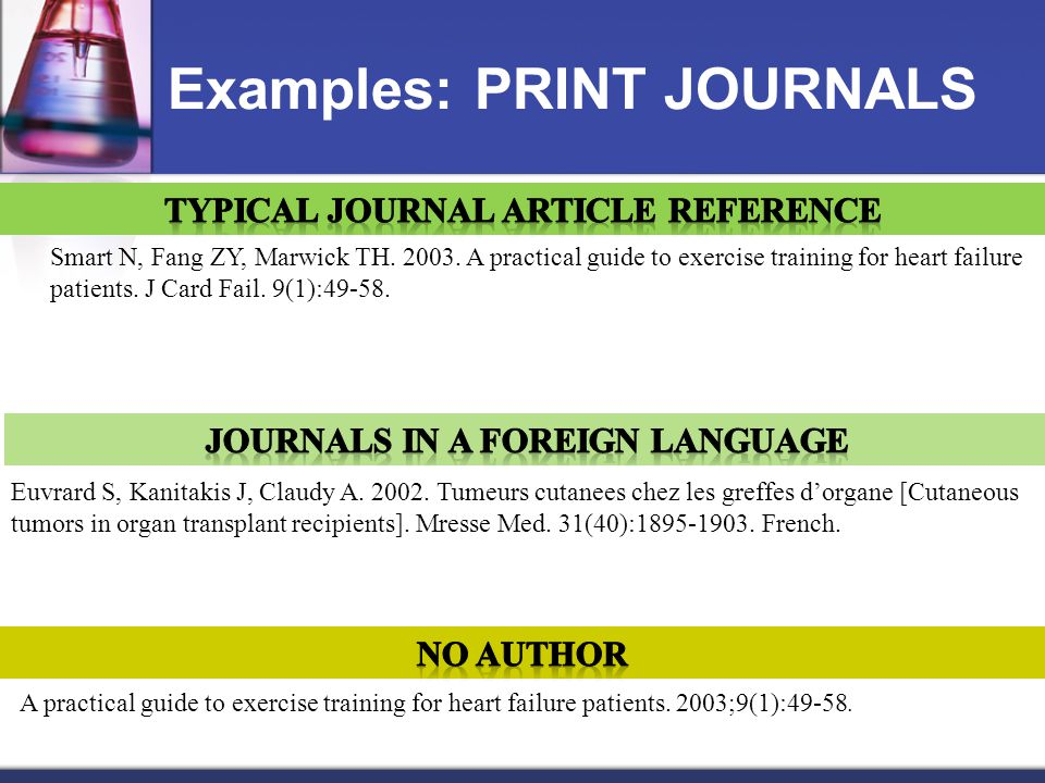 Examples: PRINT JOURNALS Smart N, Fang ZY, Marwick TH.