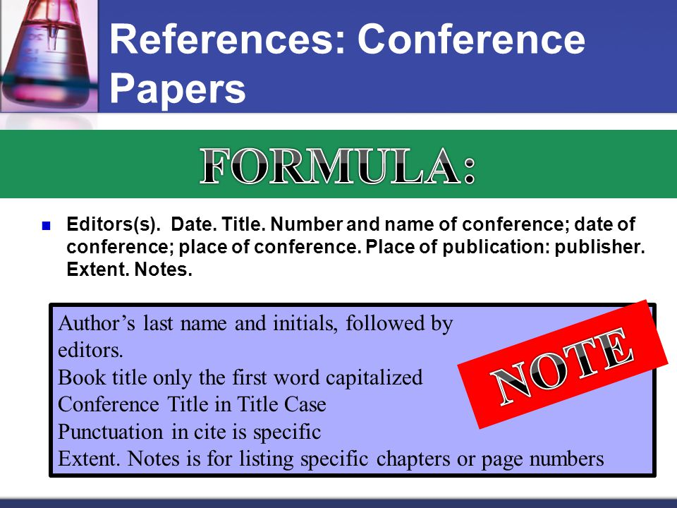 References: Conference Papers Editors(s). Date. Title.