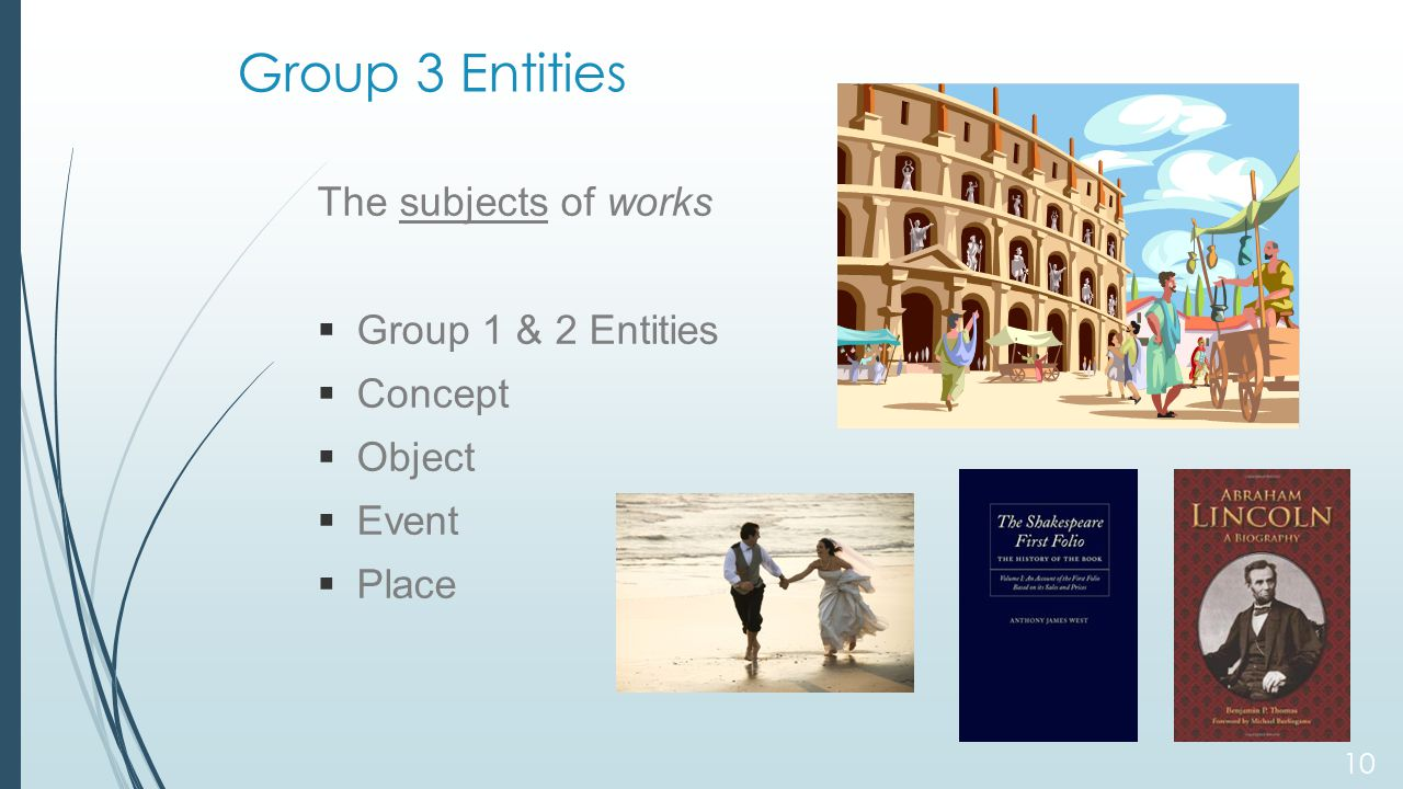 Group 3 Entities The subjects of works  Group 1 & 2 Entities  Concept  Object  Event  Place 10