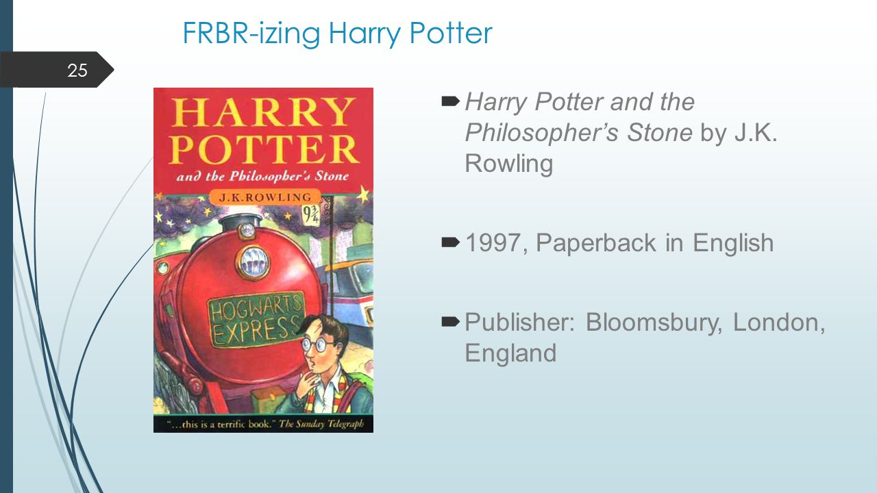 FRBR-izing Harry Potter  Harry Potter and the Philosopher's Stone by J.K.
