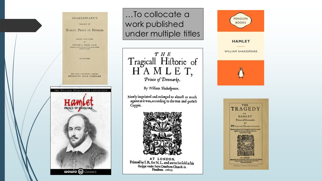 …To collocate a work published under multiple titles